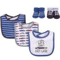 美國 luvable friends 嬰幼兒吸水口水巾圍兜與短襪組_可愛老爺車(LF56255)