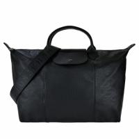 (LONGCHAMP)LONGCHAMP Le Pliage Cuir Series Lambskin Wide Strap Short Handle Folding Dumpling Bag (Large/Black)