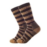 Mountaineering leisure sports Merino wool socks (women) 36-40 size coffee thick stripes