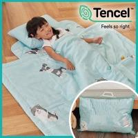 J-bedtime 高質感天絲TENCEL舖棉三件式兒童睡袋(台灣製)-狗狗好朋友