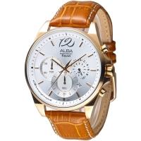 (ALBA)ALBA New Yajue Fashion Three-Eyed Chronograph Men's Watch - IP Gold Case / Silver White (AT3A54X1)