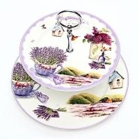 Bone China Double Layer Plate-Lavender-Bright Purple [Athena Furnishings] Diameter 27 High 26-HB22