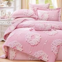 【花蔓舞-粉】 雙人 100%純天絲 兩用被套床包四件組