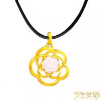 (今生金飾)This life gold ornaments gorgeous colorful gold pendant with leather rope