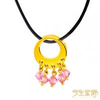 (今生金飾)This life gold jewels dazzling gold pendant with leather cord