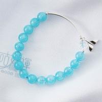 "(goodgoodluck)Aquamarine sterling silver fishtail bracelet | ""including the light"" positive energy | restore creative inspiration | enhance"