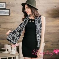 lingling Slim large size A2664-03 textured metal circle pit ruled vest mini dress + scarf (temperament black)