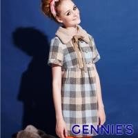 (Gennies)Gennies Chini cute little fur collar plaid warm wool autumn and winter coat - blue / red (G3Y23)