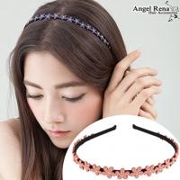 (Angel Rena)[Angel Rena] flower suede bright beads headband - pink