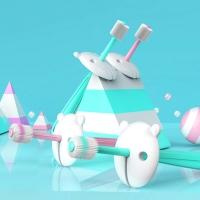(Lestar)[Lestar] 360 degree nano child cute pet shape toothbrush (child toothbrush) - pink