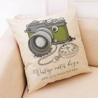 Creative camera pattern hug pillowcase (pocket watch and green camera)