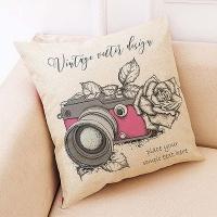 Creative camera pattern hug pillowcase (rose + camera)