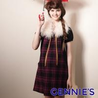 (gennies)Gennies Chinie Check Wool Short Sleeve Dress (Fuchsia / Blue / White G1407)