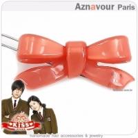 (Aznavour)[Aznavour] Korean Kiss ˙ small bow hairpin - Peach orange