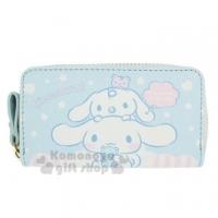 "Big ear dog leather zipper key bag ""blue and white. Big face"" coin purse. Storage bag"
