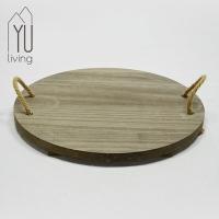 木質圓形裝飾盤/燭盤