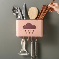 Punch-free chopsticks drain storage box-pink (free coral velvet hand towel*1)
