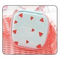 Fashion square hard shell zipper storage bag (watermelon)
