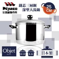 (Miyaco)【Miyazaki Miyaco】25cm Japan Objet18-10 Iron core three-layer steel deep sauce pot