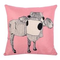 Animal Family Cotton Comfort Square Pillow. Cushion (Pink Buffalo)