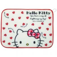 小禮堂 Hello Kitty 方形網狀圓角吸水桌墊《白紅.愛心》31x41cm.餐墊.吸濕墊