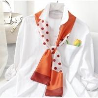 vivi fashion silk scarf Korean version of spring and autumn wild scarf. Long silk scarf 123001 orange dots