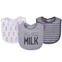 美國 luvable friends 嬰幼兒吸水口水巾圍兜3入組_MILK與奶瓶(LF00447)