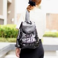 【Abigail】 Korean College Multifunctional Beam Backpack 6424 (Black)