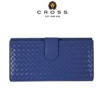 (cross)CROSS Top NAPPA Lambskin Woven Pattern Middle Button Long Clip (Navy Blue)