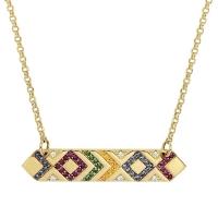 (apm MONACO)apm MONACO French fine jewelry sparkling colorful crystal diamond golden geometric shape adjustable long necklace