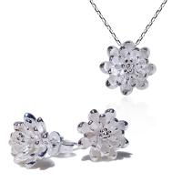 ides愛蒂思 知性風格設計925純銀項鍊耳環套組/清新蓮花