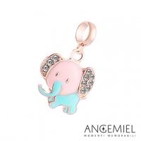 (Angemiel)An Italian Angemiel Jie 925 meters silver beaded Dream Fairy Tale Pink Elephant Charm