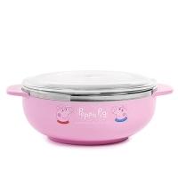 LEing Peppa Pig 粉紅豬小妹 佩佩豬 雙耳不鏽鋼大碗 400ml 附透明蓋 大臉 粉