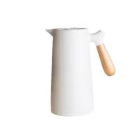 【BeOK】北歐風 玻璃內膽保溫水瓶 咖啡熱水壺 1L 珍珠白