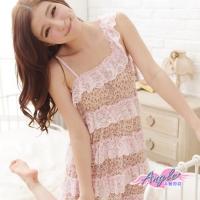 (angel)Angel Neon Cheetah Lover Rousha Sexy One-piece Pajamas (Pink Coffee F)