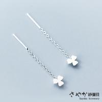 (sayaka)[Sayaka Yoshiya] 925 sterling silver small fresh three-leaf heart-shaped grass shape hanging earrings (ear wire)