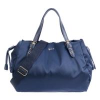 (agnes b)agnes b. Airy glossy nylon portable/crossbody bag-small/blue