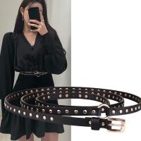 (狐狸姬)Fox Ji, rivet double-loop personalized thin belt belt