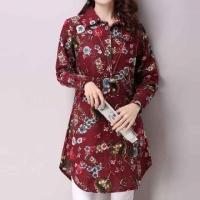 [Korea KW] KM352 color printed cotton shirt - red