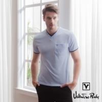 (Valentino Rudy)Valentino Rudy Fernando Frozen T-Shirt - Purple Blue - Round Collar Pocket