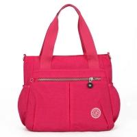 (I.Dear)[I.Dear] Korean fashion men and women travel light nylon waterproof dual-use shopping shoulder-shoulder bag (BG87 rose red)