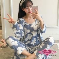 (angel)Home Pajamas Suixing White Flower Three-piece Long Sleeve Blouse Set Casual Wear (Gray Blue F) AngelHoney