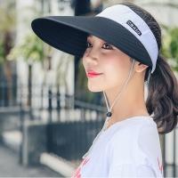 Empty top ventilation foldable sunshade hat - black ash (gift fashion personality twist hair ring)