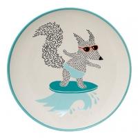 丹麥Bloomingville 衝浪狐狸陶瓷盤(粉藍)