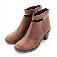 (TW Shoes)Openwork back zipper plain boots ‧3 colors [K116C1696]