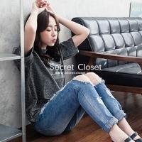 (secret-closet)【Secret Wardrobe】 net yarn stitching sexy V neck hanging neck bright silk shirt
