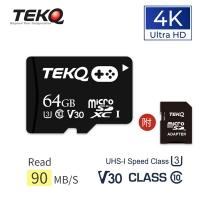 (TEKQ)TEKQ 64GB MicroSDXC memory Card microSD UHS-I U3 V30 A1 video game memory card with transfer card
