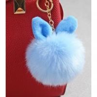 (布雷登.主義)Plush Ball Pendant Cute Rabbit Ears Imitation Rabbit Hair Keyring Bag Jewelry Pendant [Braden's Doctrine]