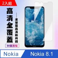 高硬度 NOKIA 8.1 防爆 保護貼 防指紋 二入組