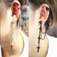(太妃糖)Toffee punk series cross pendant earrings (3 colors) - Black